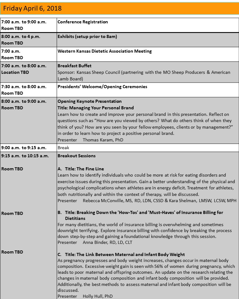 Missouri Academy Of Nutrition And Dietetics  Conference Agenda